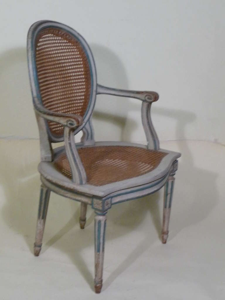 18th Century Louis XVI Painted Armchairs in Duchess de Rothschild Style For Sale 2