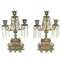 Pair of Neoclassic Girandoles Candle Holders with Fine Cut Crystal Pendants