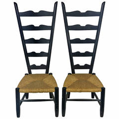 1950 High Back Italian Chiavari Fireside Chairs in the Manner of Gio Ponti
