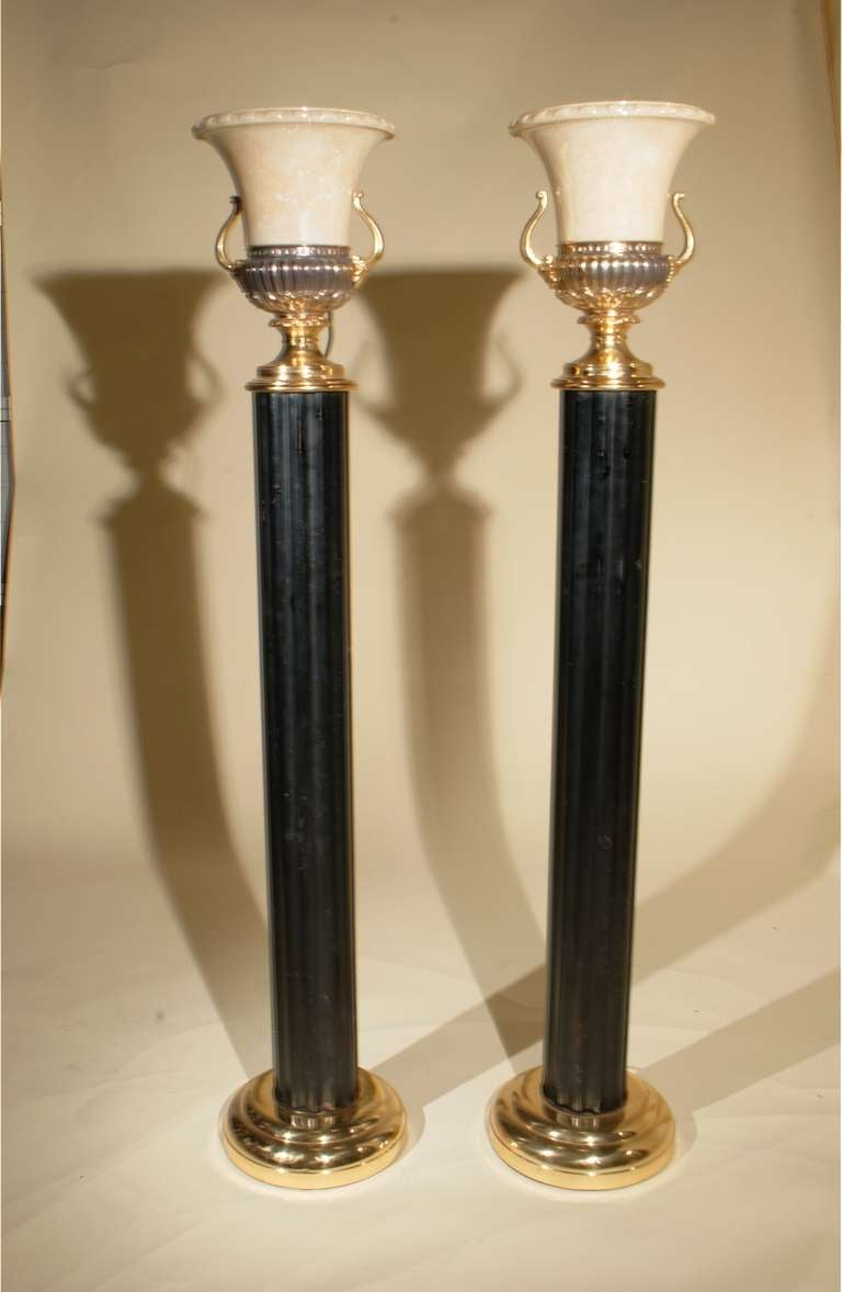 Gorgeous Art Deco Pair Fluted Column Torchieres Floor Lamps With Provenance At 1stdibs