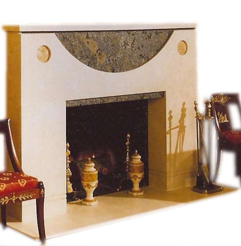 American Ronn Jaffe's 'Onassis' Luxe Marble Fireplace Mantel For Sale