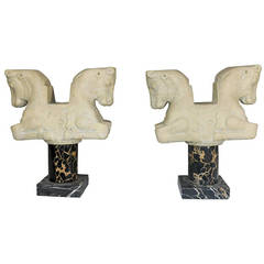 Vintage 'Louvre' Paris Classical Style Statues Bookend Horses on Marble Pedestal