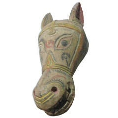 1940 Large Carved Wood Polychrome Donkey or Horse Head Sculpture