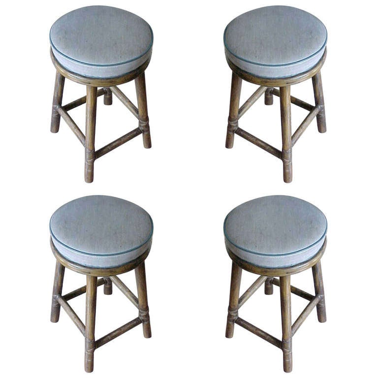 Mid Century Modern Mcguire Set Of 4 Rattan Bar Stools For