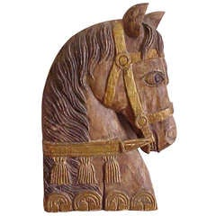 Mid-Century Stylized Wood Carved Horse Head Wall Sculpture