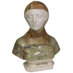 19th Century Italian Bust of Dante's Beatrice Marble and Alabaster
