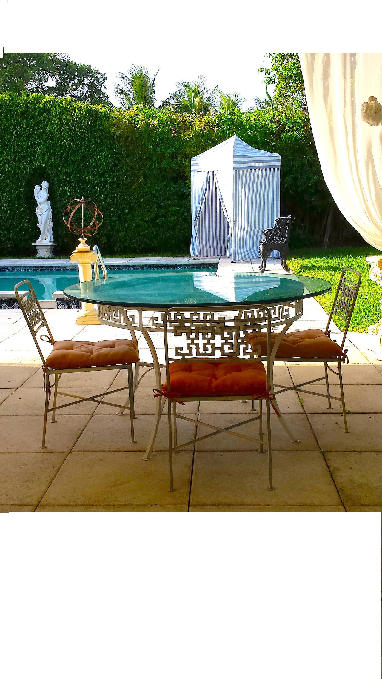 1950 stylish salterini garden outdoor dining set table for Outdoor table set sale
