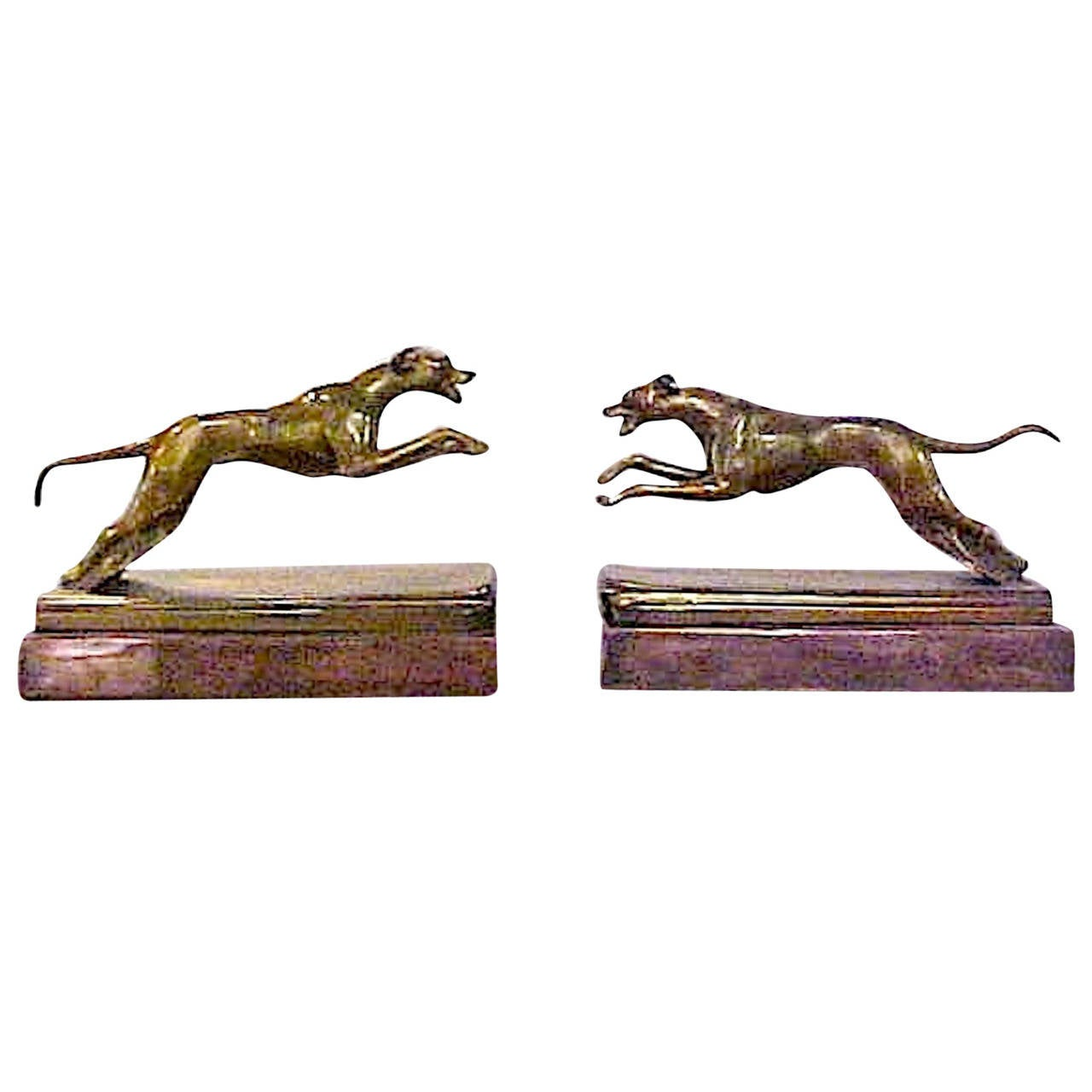 Art Deco Pair of Bookends Bronze Greyhounds on a Copper Base For Sale