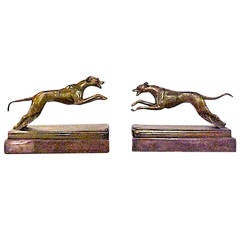 Art Deco Pair of Bookends Bronze Greyhounds on a Copper Base