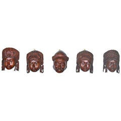 19th Century Set of Wood Carved Chinese Masks from a Classic Historical Novel