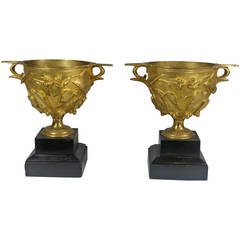 Rare Pair of Dore Bronze Pompeii Decorated Urns of Vine Leaves, circa 1830