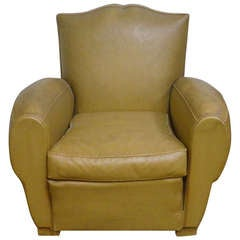 Art Deco Aged Mellow Upholstered Club Lounge Chair with Nailhead Back Trim