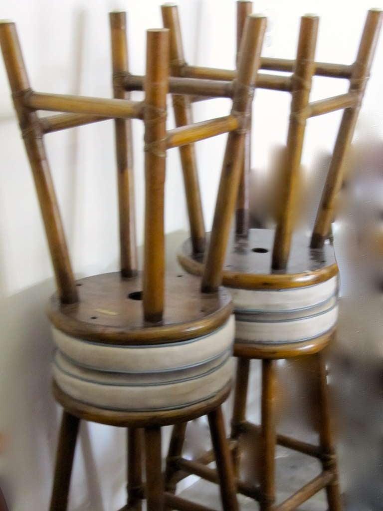 Mid century modern mcguire set of 4 rattan bar stools at 1stdibs