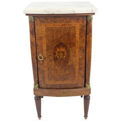 19th Century Fine French Cabinet Nightstand Elm Burl Floral Marquetry Marble Top