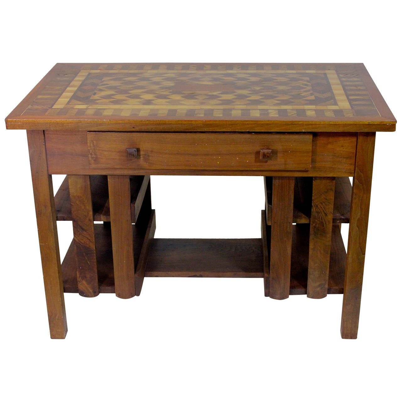 Early th c arts and crafts stickley mission style desk