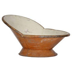 Hip Bath Tub with Faux Wood Painted Finish with Provenance, circa 1895