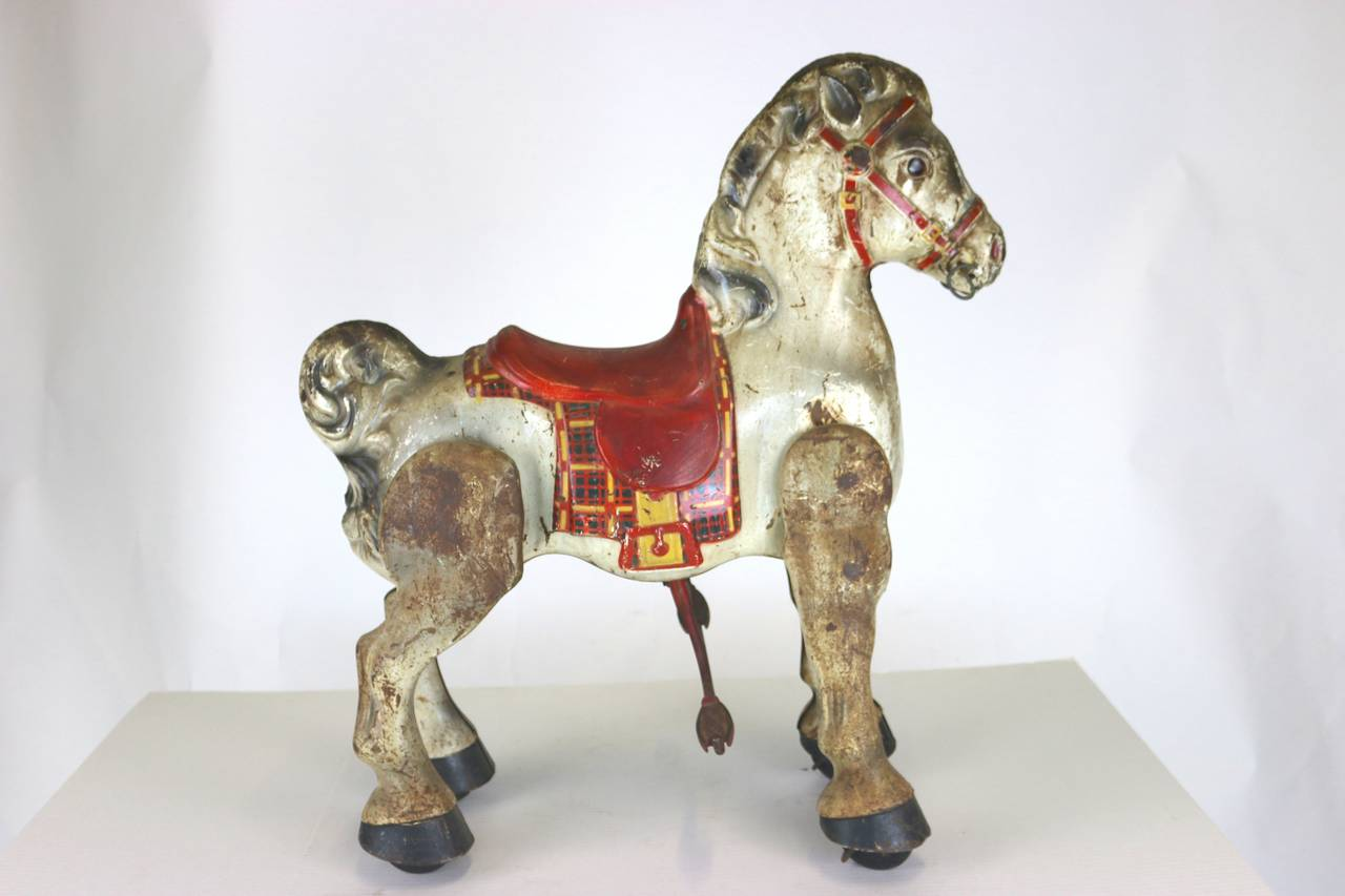 Vintage English Folk Art Child S Toy Riding Horse Great
