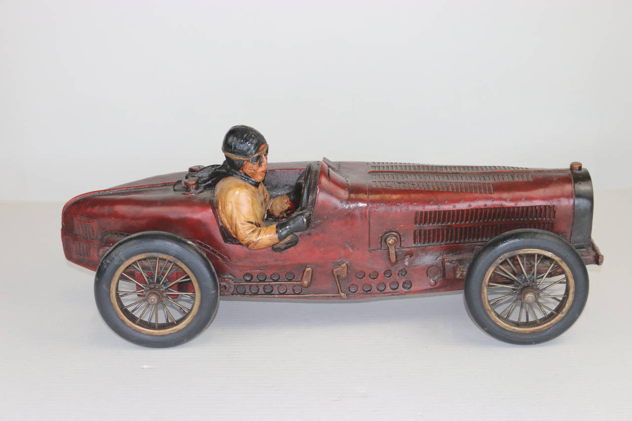 Vintage Large Racing Bugatti Model With Driver With Provenance At 1stdibs