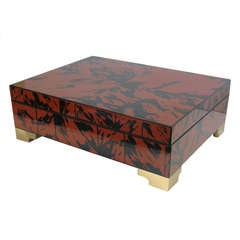 1960s Large Faux Tortoise Lacquered Box by Alessandro