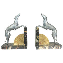 Superb Art Deco Pair of Silvered Pewter Greyhound Bookends on a Marble Stand