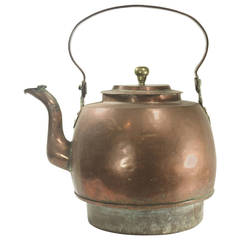 Huge 18th Century Georgian Federal Copper Hearth Water Kettle, Hand-Forged