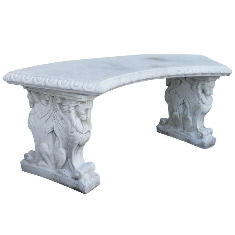 Rare Large Size Double Lion Base Cast Stone Garden Bench With Curved Top 1