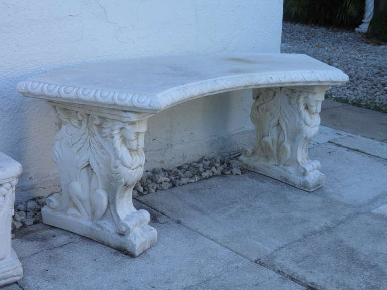 Rare Large Size Double Lion Base Cast Stone Garden Bench With Curved Top 2