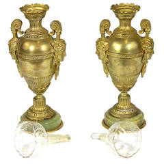 Fine Pair Neoclassic Gilt Bronze Vases Urns Grecian Faces-Provenance circa1850
