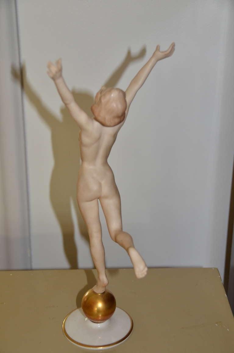German Beautiful Art Deco Hutschenreuther Nude Goddess Sculpture on a Golden Ball For Sale