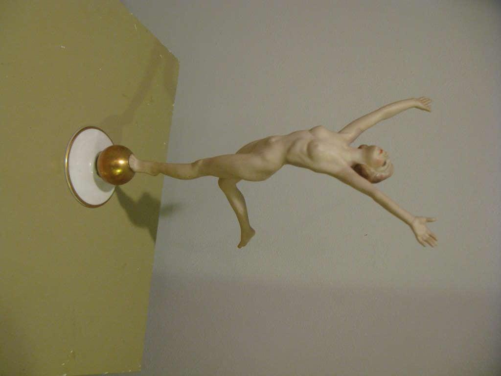 20th Century Beautiful Art Deco Hutschenreuther Nude Goddess Sculpture on a Golden Ball For Sale