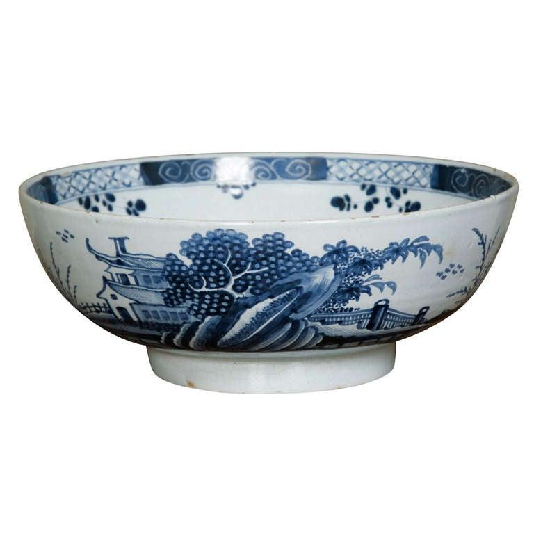 English Delft Chinoiserie Punch Bowl Circa 1760 At 1stdibs
