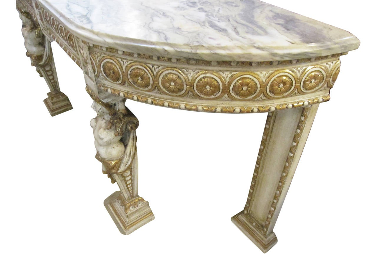 Engraved Limestone Inlay : Italian marble top console made of carved wood gilded and