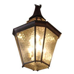 Hammered Brass with Amber Glass Pendant Lantern from Surf Ave, Coney Island