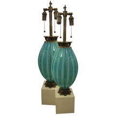 Pair of 1930s Turquoise Murano Lamps
