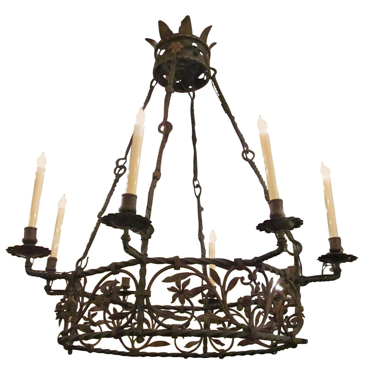 late 1890s electrified wrought iron chandelier with eight candle lights at 1stdibs