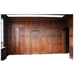 1905 Solid English Oak Paneled Room with Matching Door from Two Rivers, WI