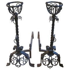 Late 1880s Pair of Large Hand-Wrought Figural Andirons with Horse Heads