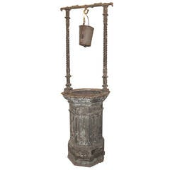 Early 1900s Victorian Cast Iron Antique Standing Wishing Well