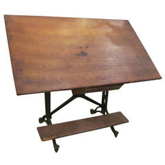 Adjustable Drafting Table with Drawer, Wheels and Built-In Footrest, 1910