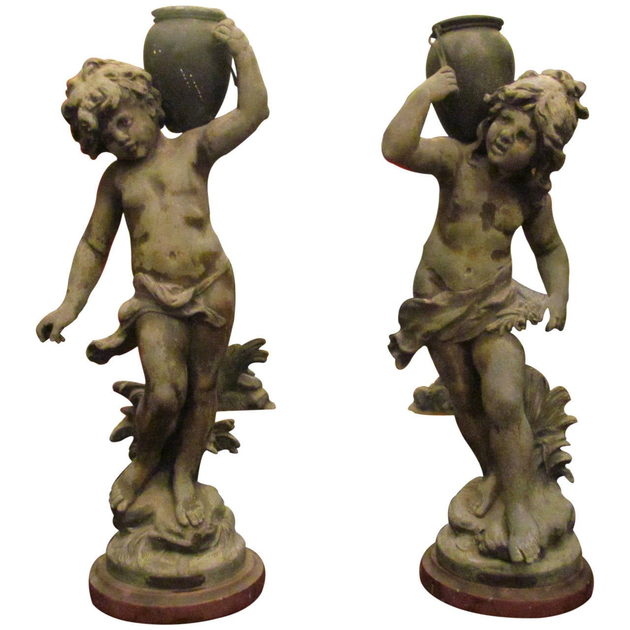 Pair of Pot Metal Water Jug Statues with Marble Base with Brass Nameplates, 1890