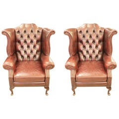 Pair of English Tufted Wingback Leather Chairs with Claw Feet,1980s