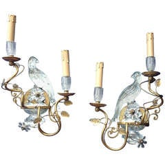 Pair of Two Candle Gilded Hand Worked Maison Baguès Style Glass Parrot Sconces