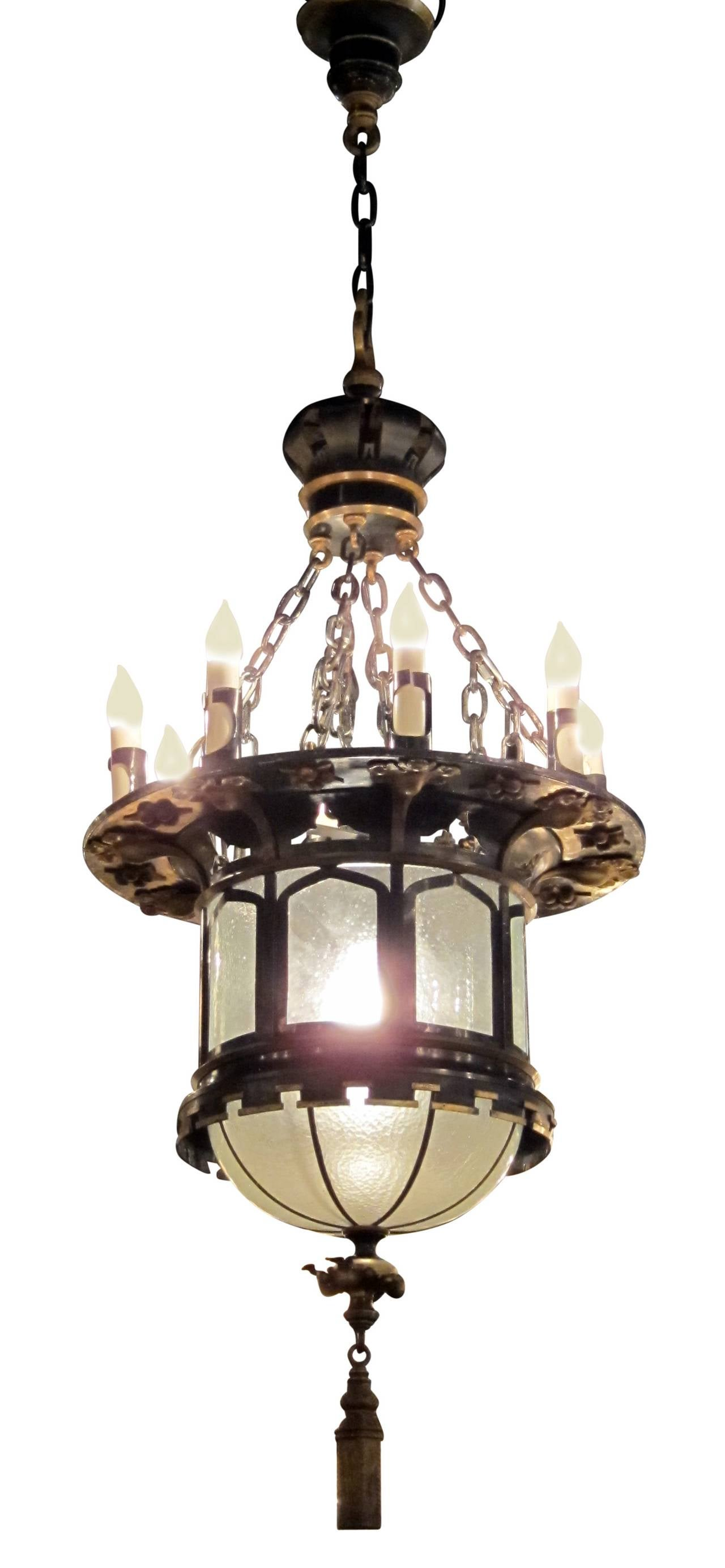 1920s french gothic tudor pendant light with slumped glass made with 1920s french gothic tudor pendant light with slumped glass made with tole this hanging fixture arubaitofo Gallery