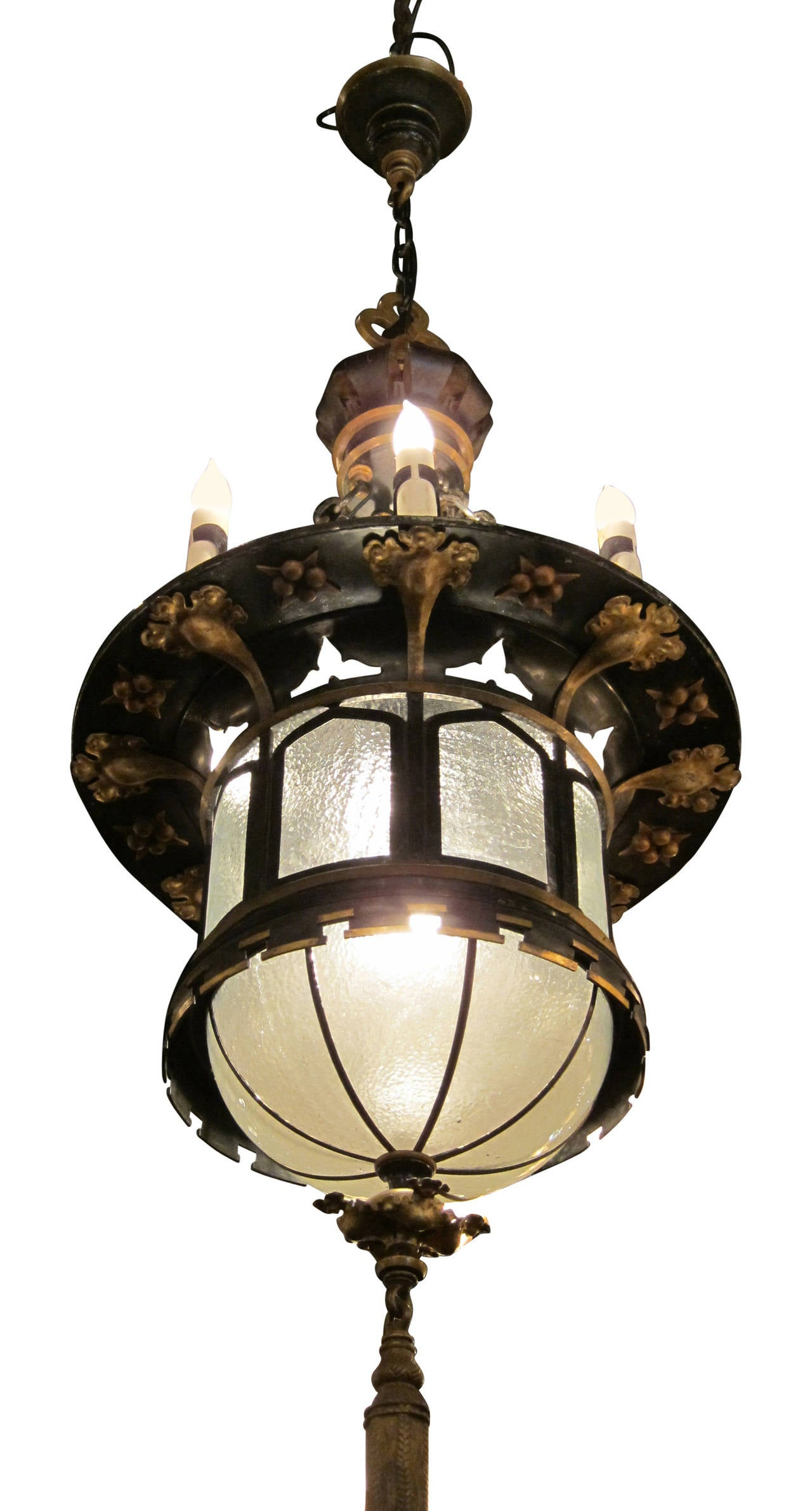 1920s French Gothic Tudor Pendant Light With Slumped Glass Made With Tole  In Excellent Condition For