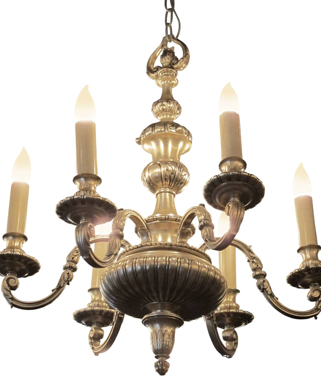 Georgian Chandelier: 1910s Silvered Bronze Six-Light Georgian Style Etched