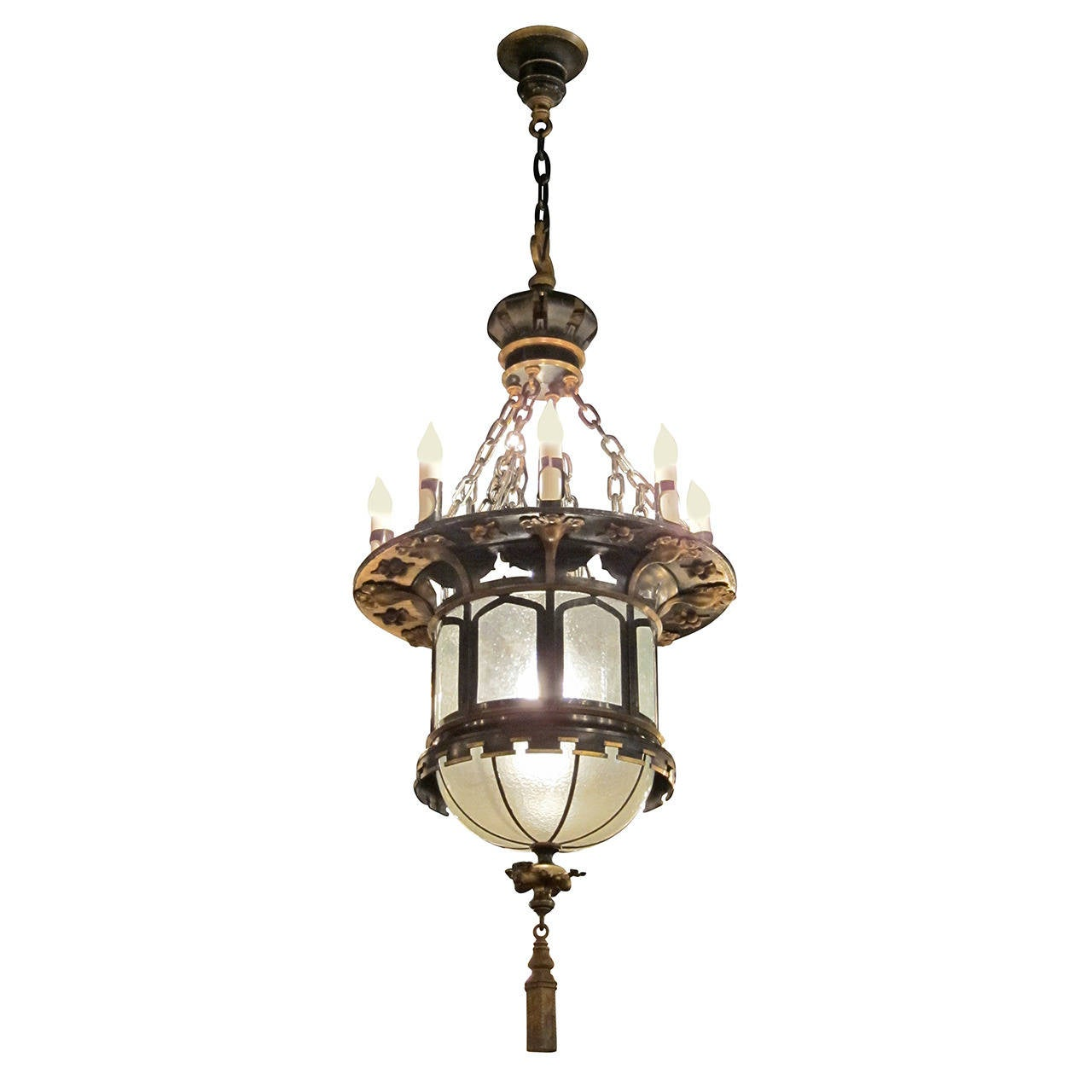 Items Similar To Lighting Rustic Chandelier Vintage 1920 S: 1920s French Gothic Tudor Pendant Light With Slumped Glass