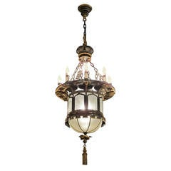 1920s French Gothic Tudor Pendant Light with Slumped Glass Made with Tole