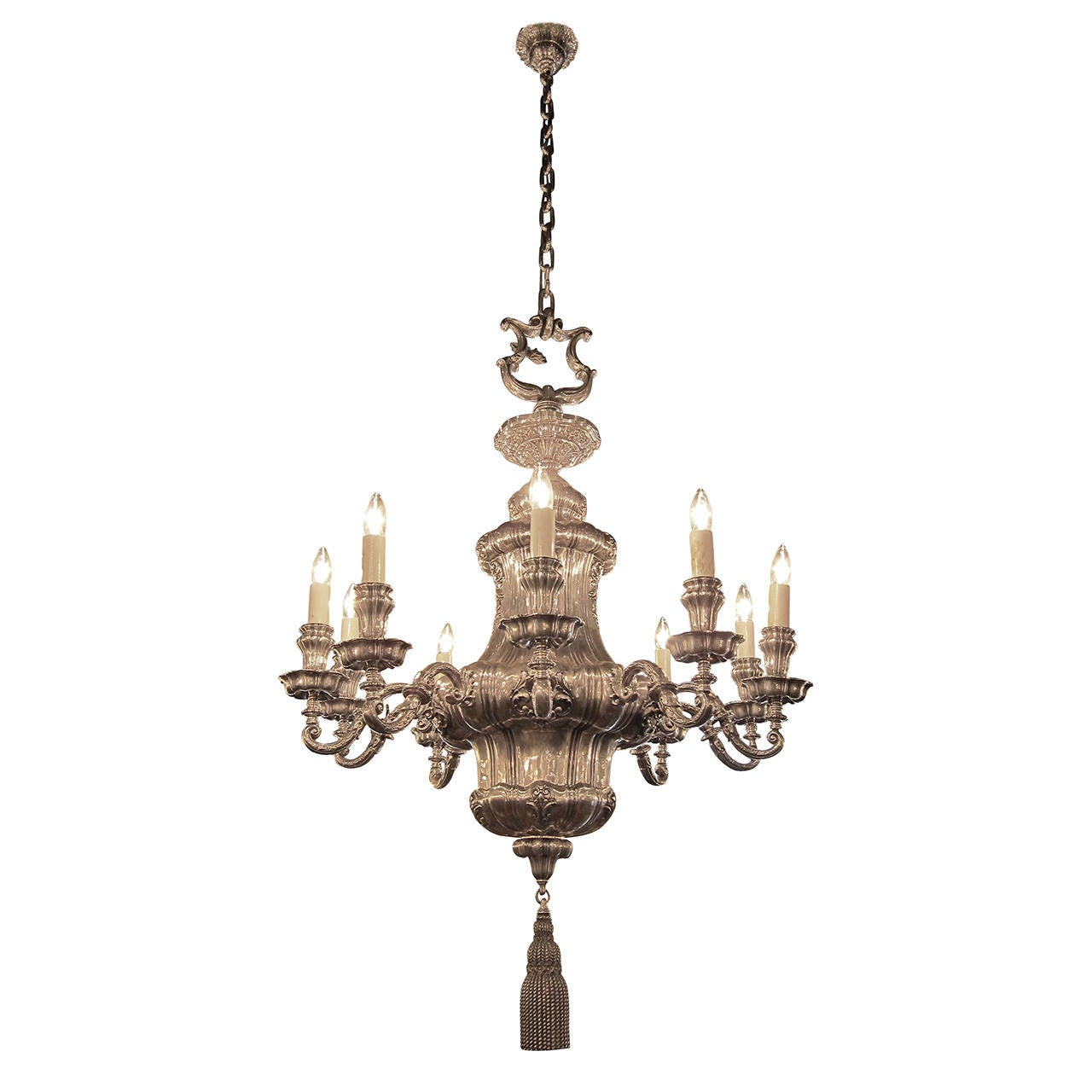 Georgian Chandelier: 1895 Silvered Bronze Georgian Style Ten-Arm Chandelier By