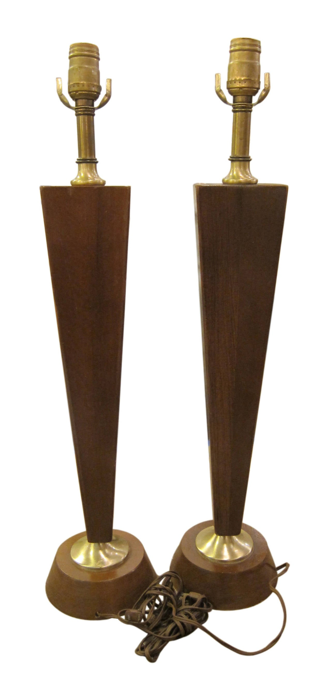 wood and glass mid century modern table lamps for sale at 1stdibs