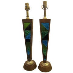 1950s Pair of Danish Wood and Glass Mid-Century Modern Table Lamps